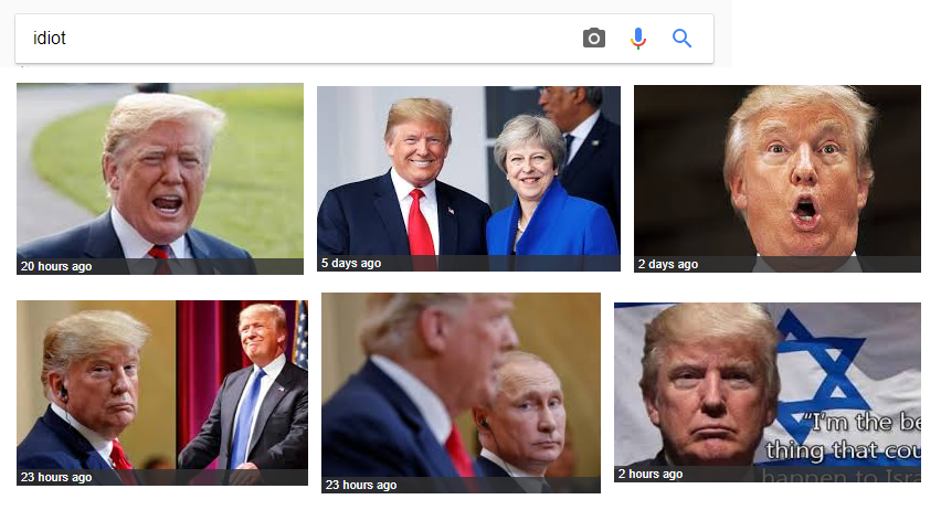 Google Is Returning Trump Images On Searching Idiot