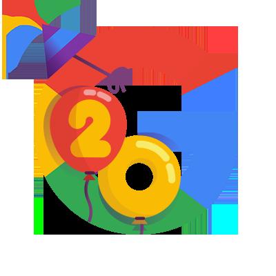 google 20th birthday doodle