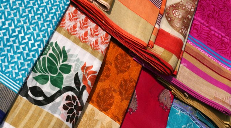 Indian saris or Sarees stacked